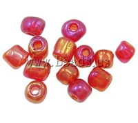 Free shipping!!!Transparent Glass Seed Beads,Tibetan Jewelry, translucent, red, 3x3.60mm, Hole:Approx 1mm, Sold By Bag