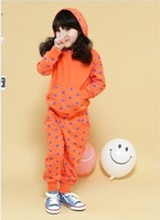 Fall 2013 Children Clothing Girl's Cotton Orange Pattern Of Stars Long Sleeve Sport Sweater Sweatpants Suit Retail Free Shipping