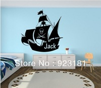 Hot Kids Boys Bedroom Pirate Ship Boat Wall Art Stickers Decal DIY Home Decoration Wall Mural Removable Bedroom Stickers 57x57cm