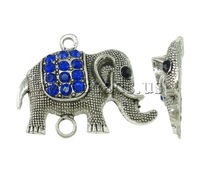 Free shipping!!!Animal Zinc Alloy Connector,Love Jewelry, Elephant, antique silver color plated, with rhinestone & 1/1 loop