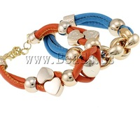 Free shipping!!!Leather Cord Bracelet,Exaggerated, with Copper Coated Plastic, with 3.5cm extender chain, mixed colors, nickel