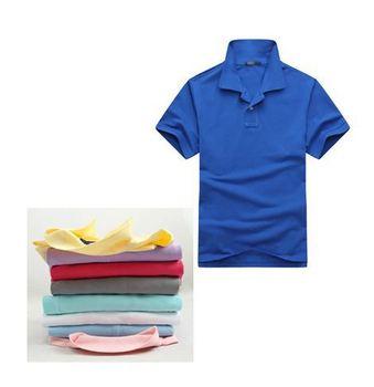 Men Cotton Polo Shirt Men's Casual Short sleeve Blank T-shirt Printing Logo Customized Advertisingirt Turn-down Collar Polo 180g