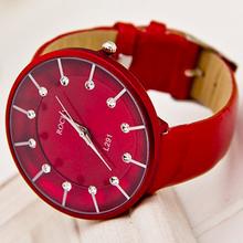 Marca Rocky! design de moda de alta qualidade Mulheres Rhinestone relógios vestido, pulseira de couro relógio de quartzo presente A111(China (Mainland))