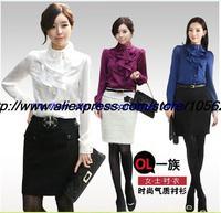 2013/2014 ladies long sleeve blouse office women dress shirt ladies formal blouse women's vintage tops Khaki Color