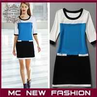 2013 Fashion Brand Design Star's Same Models Mixed Colors Knit Dress High-end Women Clothing Skirt Wholesale