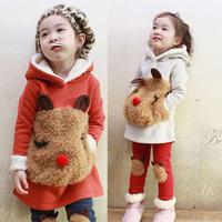 2014 fashion New kids Autumn and winter fleece bear sweatshirt child set  twin set legging female girls clothing set hot selling