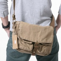 Free Shipping Men's shoulder bag mens messenger bags virginland multi pocket canvas bag new 2013 casual items brand bag for man