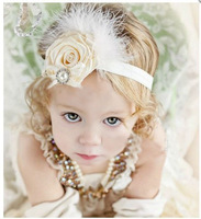 Baby Feather Hairbow With Pearl And Headband For Toddler Girls Hair Accessories