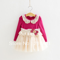 free shipping  girls cute bow long sleeve dress,girls tutu dress   5pcs/lot   DMJ07