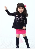 2013 Fall Children's Clothes Girls 100% Cotton The Kitten Pattern Long Sleeve Bottoming Black Coat Dress Retail Free Shipping