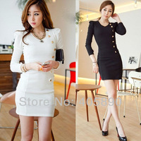 2013 Buttons Decorative Long-sleeved Dress