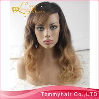 "1BT#9 two tone body lace wig!virgin Brazilian hair two tone glueless full lace wig&lace front wig,10""-24""130% density"