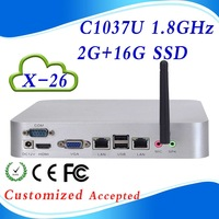 Highest cost effective C1037U  XCY X-26  2G ram 16G SSD Dual lan port  pc station linux computer case support win 7 XP