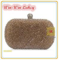 Lowest Price Style Women's Clutch Purse Full Diamond. Luxury Rhinestones Satin Banquet Handbag. Chain Messenger Evening Bags