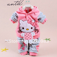Free Shipping Wholesale High Quality  Baby Toddler Girl Hello Kitty Autumn Clothing Sets Toddler Girl Cotton Clothing