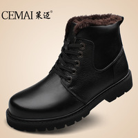 Free Shipping 2013 New Winter Warm Men's boots Male High-top Casual Shoes 100% Cowhide Genuine Leather Plus Size Cotton Boots