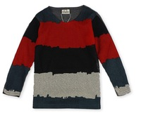 2013 Autumn Children's Clothing Boy's  Cotton Stripe Hollow Fabric Long Sleeve Bottoming T-shirt Retail Free Shipping
