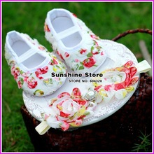 Sunshine store #2B1909 3set/lot Baby gril diamond/pearl Headbands and FLORAL Satin Soft Rosette Crib Shoes set, Shower Gift CPAM(China (Mainland))