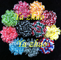 """3.2"""" chiffon chevronsilk  flower, print color flower  for baby headband, 11colors for choice, 120pcs/lot , free shipping by  EMS"""