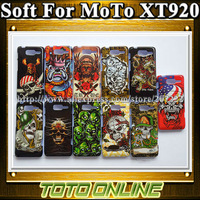 1 Piece High Quality TPU Gel Soft Cover Skull Pattern Protector Cases For Motorola Razr D3 XT920 Free Shipping