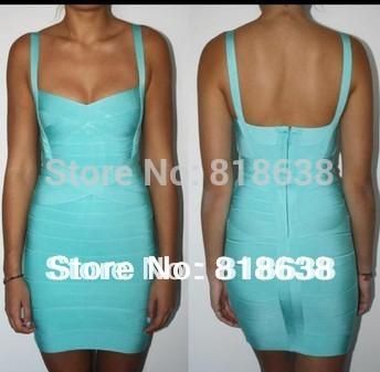 free shipping light blue spaghetti straps sweetheart cross over bandage dress par