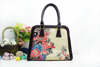 China culture beauty fashion lady bag Chinese style women hand bag totes  leisure business both handpainting canvas bag - D-02