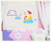 2013 New moon girl wall sticker/good night/sweet dream/musical children's room cartoon girl stickers removable wall sticker