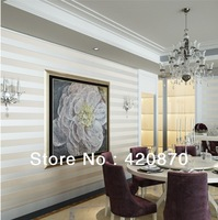 High Quality  The New Non-woven Flocking Simple Striped Wallpaper Bedroom Living Room Study F83009/F83010  papel de parede