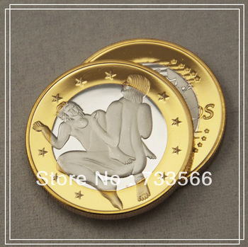 [ 11 ]Free shipping 5pcs/lot sex 6 Euros Commemoration Coin, Newest make love design silver and gold clad coins