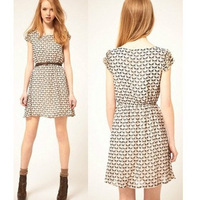 2013 summer fashion elegant women's onta pattern deer print baimuer pleated slim one-piece dress short-sleeve belt female DSC080