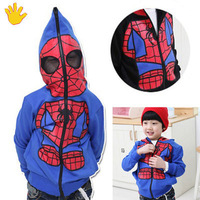 NEW Kids Spiderman Coat Boys Hoodies Girls Full Zipper Mask Jacket Size 3-8 Year