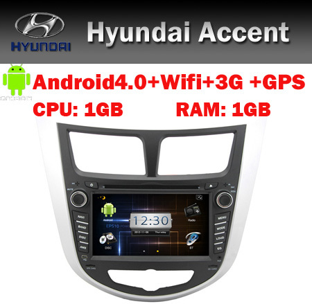 Wifi 3G Hyundai Accent Solaris Android 4.0 Car DVD GPS Navigation Bluetooth Radio TV USB SD IPOD Steering wheel control(China (Mainland))