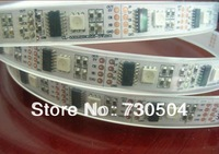 free shipping 5m DC5V WS2801IC(256 scale) 32pcs IC, 32pcs 5050 SMD W/Black PCB Flexible Led Light/ Led Strip WS2801