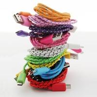 High Quality 1M Mirco Fabric Nylon Braided colorful Sync USB Data Cable for Samsung HTC Blackberry NOKIA free ship