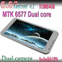 "Free Shipping 5.5"" Android 4.1.1Dual Core Dual Camera  Bluetooth 2.1 GPS 2G/3G Smart Phone 2PCS/Lot"