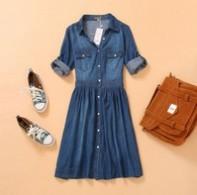 2014 Fashion new lady's denim dress three quarter sleeve plus size girl dress casual dress S-4XL