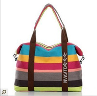 Free shipping new 2013 large capacity travel bag canvas shoulder bag messenger stripe women's handbag large bag totes girl bag