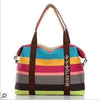 Free shipping new 2013 large capacity travel bag canvas shoulder bag messenger stripe women's handbag large bag totes girl bag