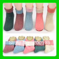 SMILE MARKET Hot!!! 2012 New arrival Free shipping 5pairs/lot Thick Wool Socks Women Winter(Random mix send styles)