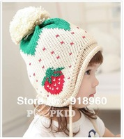 Autunm&winter baby Kids caps/warm children earflaps beanie hats/knitting wool strawberry/Skull Hat/1-4 Years old/ATB