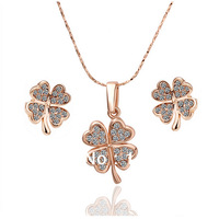 LS039 Fasion 18K Rose Gold Plated Items Lucky Four Leaf Clover Crystal Pendant Necklace Earring Women Jewelry Sets Accessories
