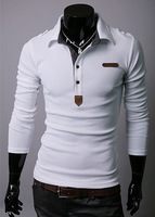 The new 2013 men's wear, cotton T-shirt, lapel long sleeve shirt of cultivate one's morality, white, black, grey, free shipping