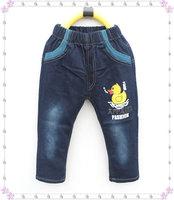 Wholesale 4pcs/set <#1  For 3-7Y) Boys' Jeans Cartoon Yellow Duck Jean Fashion Children's Jeans Kids' Trouser 2013 New Autumn