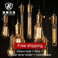 Wholesale antique luxury gold color UL 110V220V lamp holder + wire + base Edison bulbs America bar pendant light free shipping