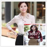 Free Shipping High Quality Long Sleeve Tops For Women 2013 Summer Elegant Uniform Shirt QR-2118