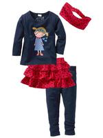 Toddler Girls Spring Long Sleeve Casual Clothing Sets Kids Cute T Shirt Skirt Pants Headband 4 pcs Clothes Set Girls Leggings