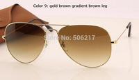 100% UV top quality original aviator sunglasses men women fashion brand name 3025 001/51 58mm 62mm gold brown degrade glasses