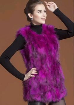 Genuine Nature Мех енота Жилет Женщины Winter Длинный Fox Мех Coat Мех Jacket EMS ...