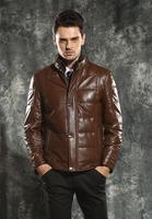 2014Winter New Arrival Men's Sheepskin Genuine Leather Down Jackets Nick Coat Genuine Leather Coat Outerwear Men Nick Coat L2015