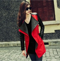 2013 New Fashion High Quality Autumn Color Block Patchwork Woolen Women's Outerwear Female Slim Medium-long Wool Coat